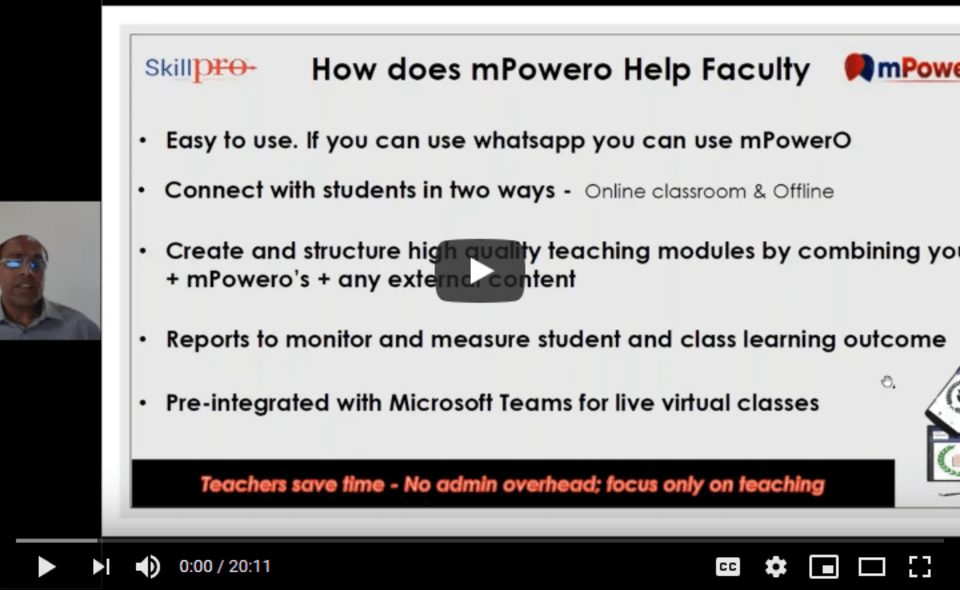 Mr. Ananth Rao, Chairman, mPowerO speaks with Microsoft on Never Stop Learning
